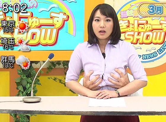 Kカップ巨乳のお天気お姉さんがセクハラ予報!番組中にチンポをぶち込まれ潮吹き絶頂でイキまくる!