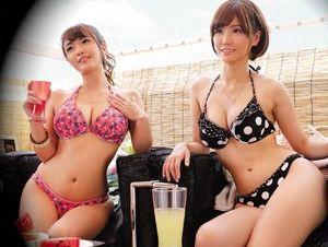 《海ナンパ》ビーチの相席居酒屋でビキニお姉さん2人組ゲットwwお持ち帰りでさらに飲ませて泥酔乱交