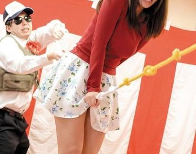 イボ付きロープがお姉さんのお股をグリグリww平均台綱渡りで落下しちゃうと罰ゲームで即ハメSEX