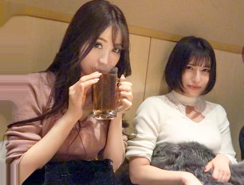 終電後の居酒屋でまだまだ飲みまくる酔いどれお姉さん2人組wwナンパしてホテルに連れ込んだらGカップ巨乳ボディとハーレム逆3P♡